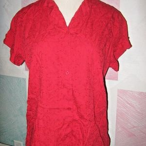 Red w/ Thread Embroidery Button Up Shirt 18W /20W